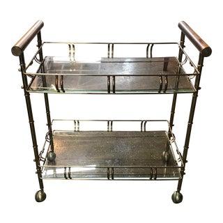 Vintage Faux Bamboo Glass Shelf Bar Cart
