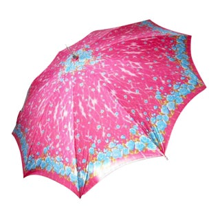 1970s Vintage Bright Pink Floral Parasol Umbrella