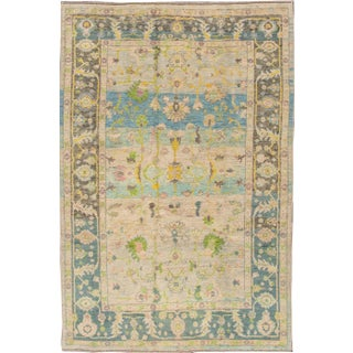 "Modern Turkish Oushak Rug - 6'4"" x 9'7"""