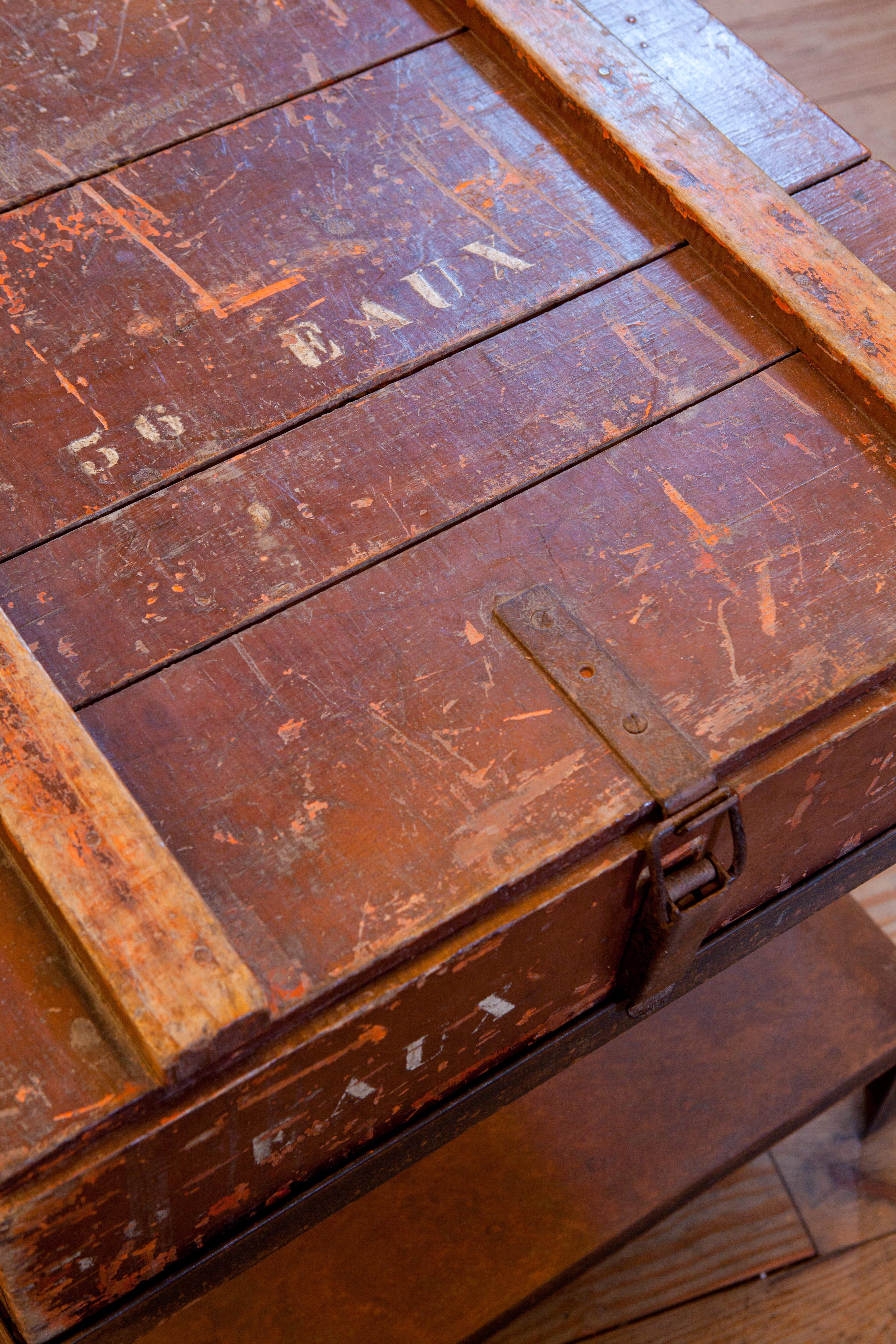 Antique Campaign Chest As Side Table On Iron Stand Circa 1900   Image 4 Of 4