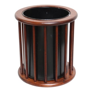 Danish Modern Walnut and Aluminum Waste Basket