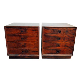 Danish Brazilian Rosewood 4 Drawer Nightstands- A Pair