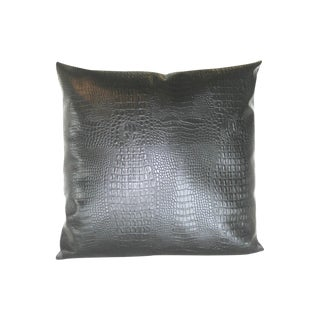 Black Croc Faux Leather Decorative Pillow