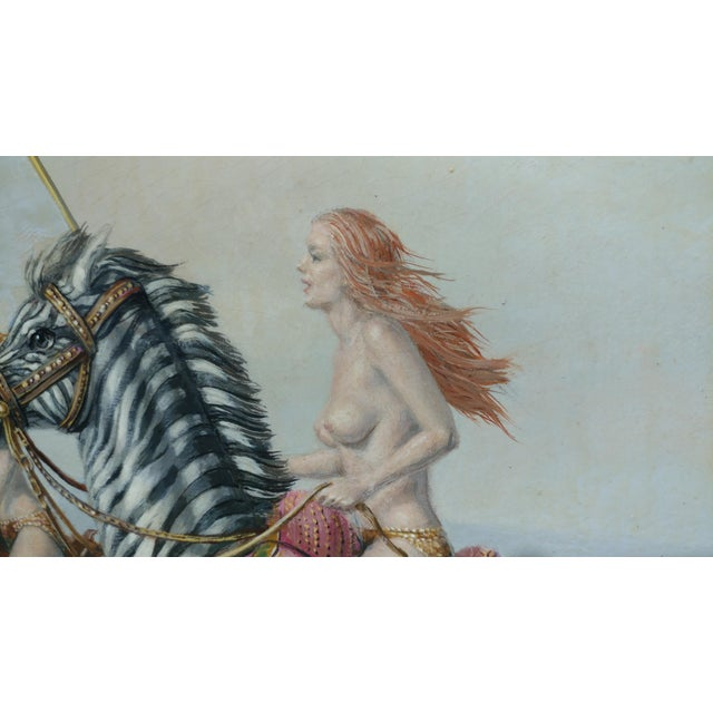 "Raymond Whyte ""Nudes on Zebras"" Surreal Oil Painting - Image 7 of 10"