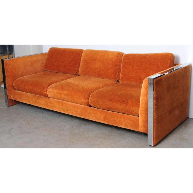 Orange Mid Century Sofa: Mid-Century Modern Orange Velvet Milo Baughman Sofa