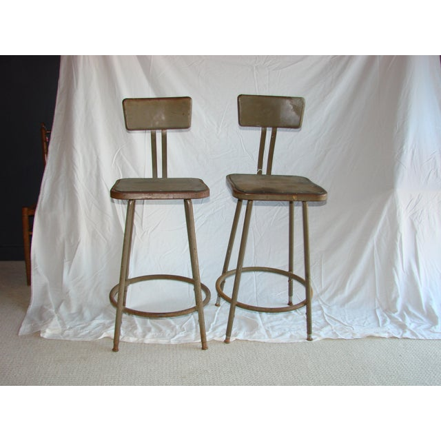 Vintage Industrial Shop Stools - A Pair - Image 2 of 4