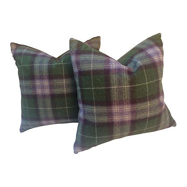 Scottish Plaid Wool Pillows - Pair - Image 1 of 4