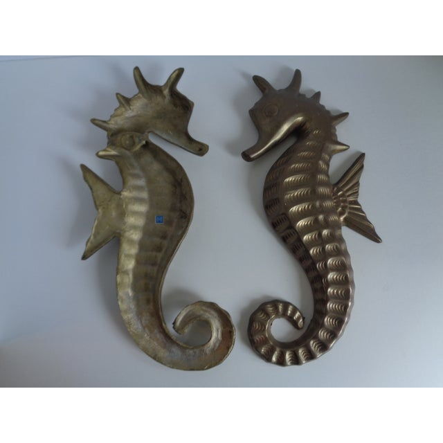 Mid Century Seahorse Wall Hangings - Pair - Image 4 of 4