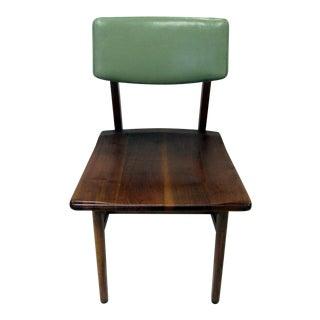 Mid Century Danish Modern Green Vinyl & Walnut Chair by Johnson Chair Co.