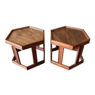Mid-Century Brown Saltman Side Tables - A Pair