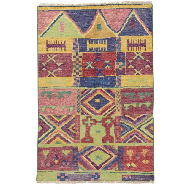 "New Moroccan Hand Knotted Area Rug - 4' x 5'10"" - Image 1 of 3"