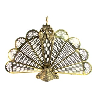 Cast Brass Peacock Fireplace Screen