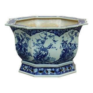 Chinese Canton Octagon Blue & White Porcelain Flower Birds Planter