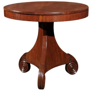 Austrian Round Biedermeier Pedestal Table Circa 1880 with Volute Base