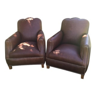 Distressed Leather Chairs - A Pair