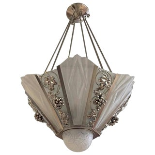 Degue Signed French Art Deco Geometric Chandelier