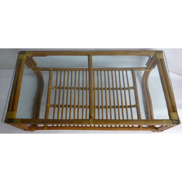 Vintage Mid-Century Bamboo Coffee Table - Image 4 of 9