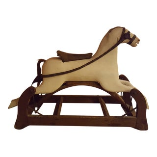 Antique Victorian Wooden Rocking Horse