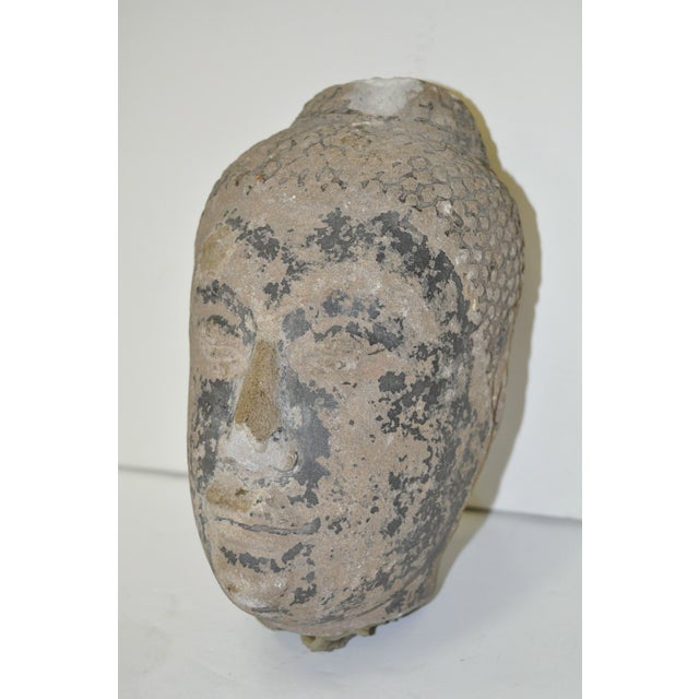 Image of 18th Century Thai Ayutthaya Stone Buddha Head
