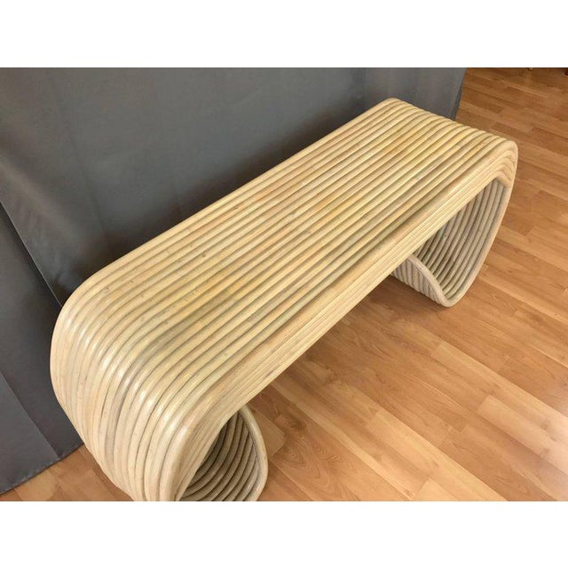 Vintage Rattan Scroll Console Table - Image 4 of 11