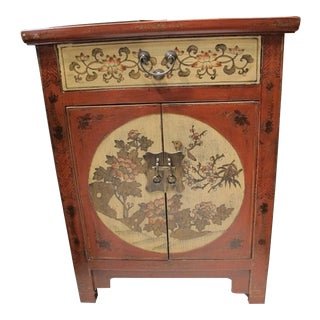 Red Decorated Chinese Bedside Chest