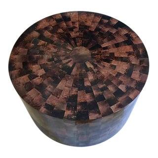Vintage Drum Coffee Table Faux Tortoiseshell Mosaic Style Modern Hollywood Regency