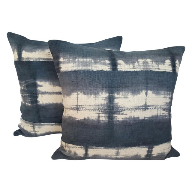 Image of African Tie-Dye Mud Cloth Pillows- A Pair