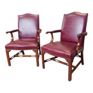 1990s Statesville Chair Co. Mahogany & Leather Chippendale Style Armchairs - a Pair