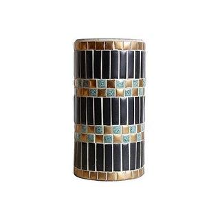 Mid-Century Brass Mosaic Vase