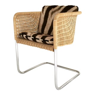 Forsyth One of a Kind Harvey Probber Wicker and Chrome Chair with Zebra Cushion