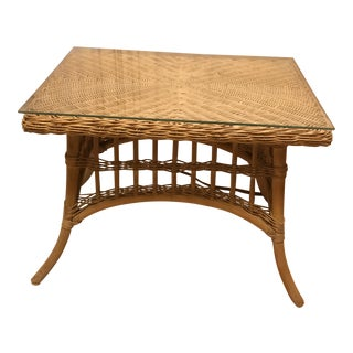 Vintage Wicker& Bamboo Side Table