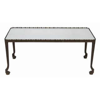 Bronze Mirrortop Floral Decorated Coffee Table