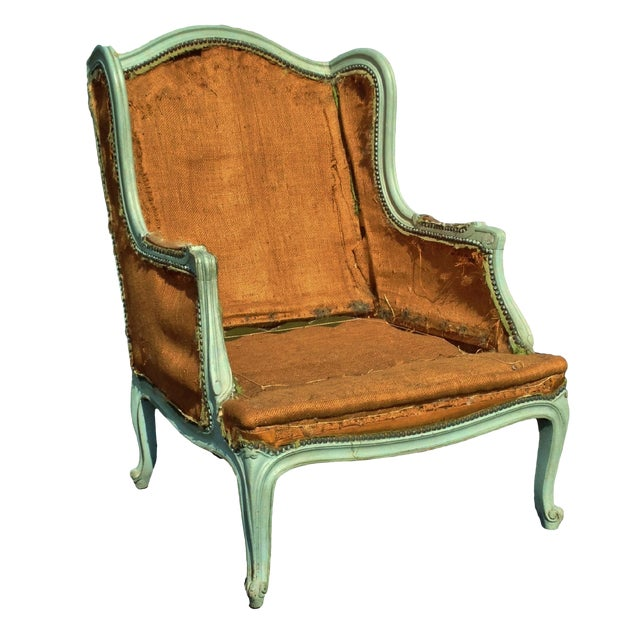 Early 20th century antique louis xv style painted bergere for Table bergere