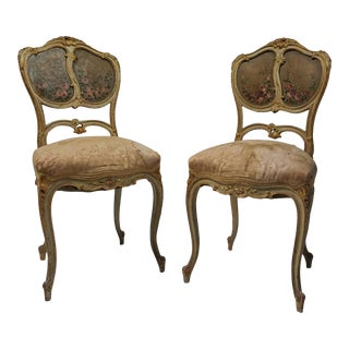 French Gilt & Painted Boudoir Chairs - A Pair