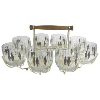 Argyle Cocktail Glasses & Caddy - 9 Piece Set