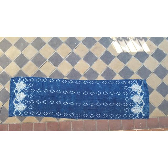 Indigo Batik Silk Table Runner - Image 2 of 4