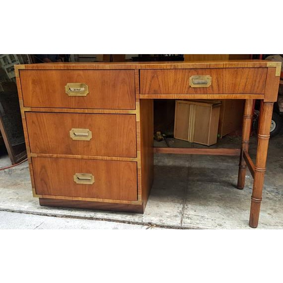Mid-Century Dixie Campaign Style Desk - Image 2 of 7