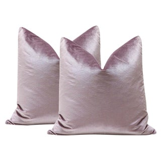 "22"" Lavender Italian Silk Velvet Pillows - a Pair"