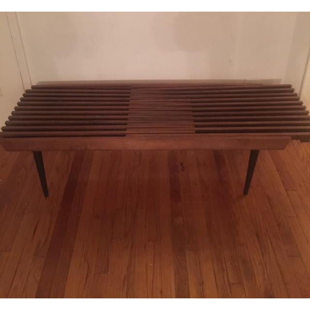 Mid Century Modern Slatted Coffee Table Bench - Image 2 of 4