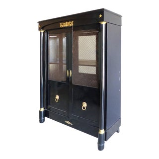 French Empire Lacquered Bibliotheque with Bronze Trellis Doors and Ormolu