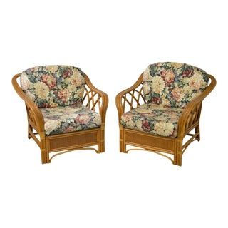 Quality Pair of Rattan Floral Print Lounge Chairs