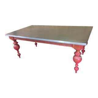 Metal Table With Solid Turned Legs