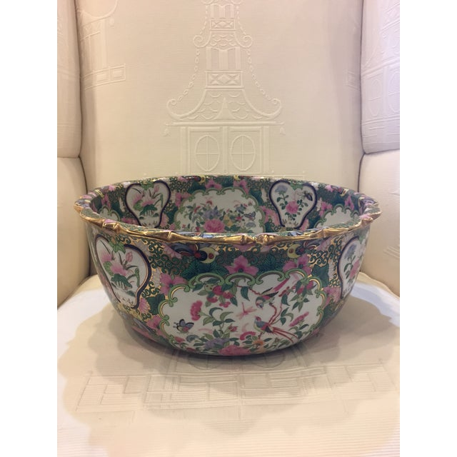Chinese Canton Style Famille Rose Porcelain Punch Bowl - Image 2 of 7
