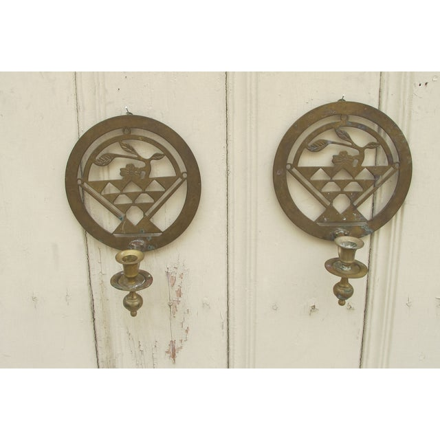 Image of Brass Art Deco Candle Holders - A Pair