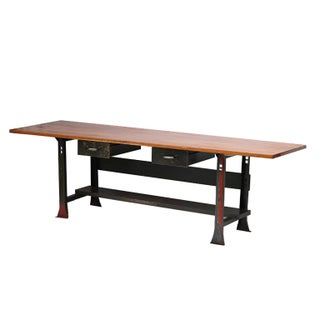 1935 Industrial Solid Cherry & Steel Workbench Desk