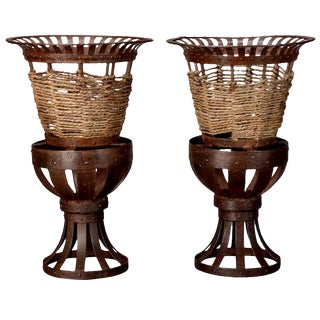 French Iron & Woven Jute Jardinières Planters - A Pair