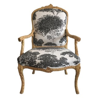 Vintage Faux Bois Upholstered Armchair