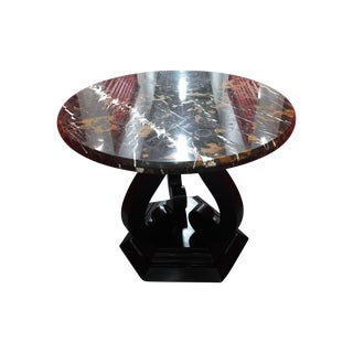 Round Marble-Top Entry Table