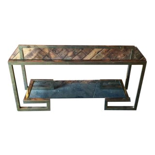 70's Brass Glass Greek Key Design Console Table