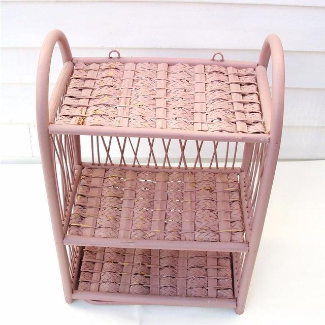 Image of Wicker Wall Shelf and Towel Rack Storage Etagere